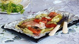 Рыба в фольге запеченная с овощами в духовке