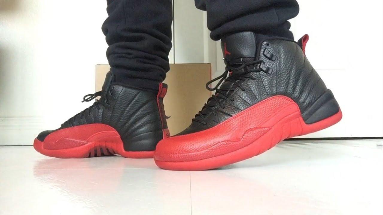 3e874607033e22 Air Jordan Retro 12 Flu Game 2016 on Feet!! - YouTube