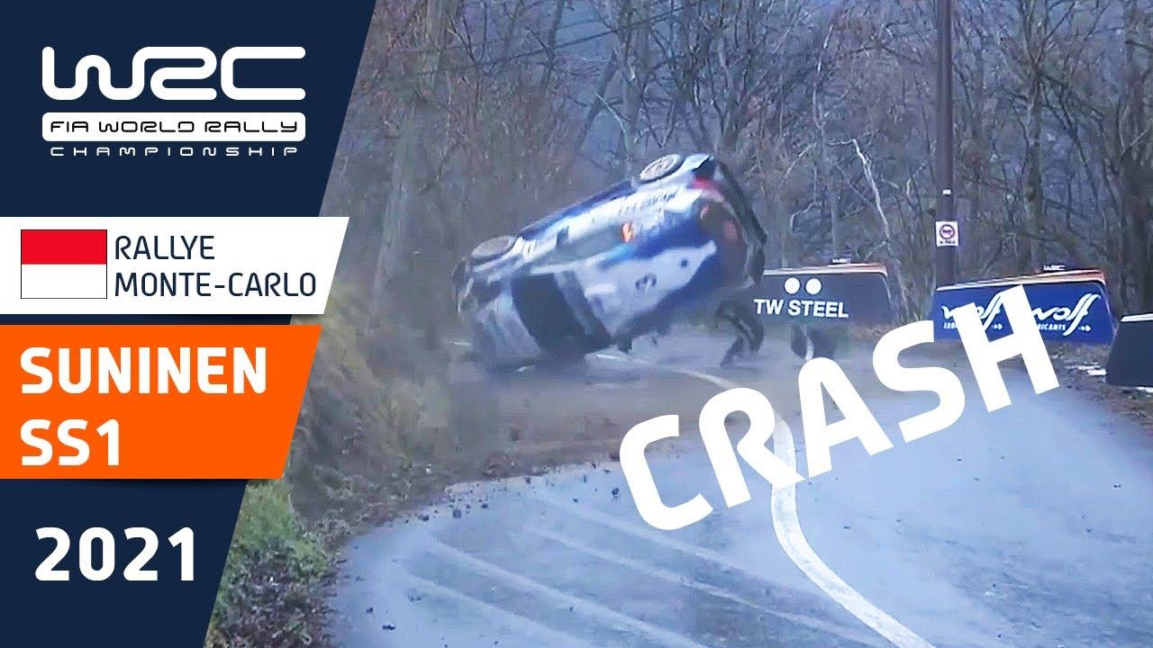 BIG ROLL FOR TEEMU SUNINEN ON SS1 | 🔴 RALLYE MONTE-CARLO LIVE NOW ON WRC+