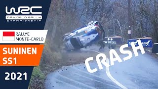 BIG ROLL FOR TEEMU SUNINEN ON SS1 | 🔴 RALLYE MONTE-CARLO LIVE NOW ON WRC+