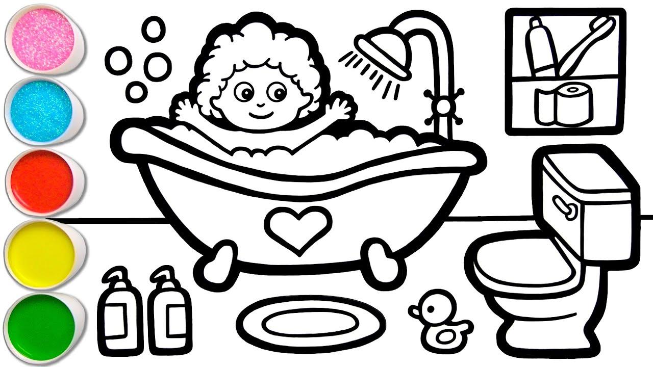 Menggambar, Melukis & Mewarnai Kamar Mandi untuk Anak, Balita | Kiat untuk Menggambar Mudah #164
