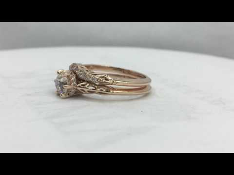 Filigree diamond wedding ring set made in rose gold. https://pixlypro.com/z7sADTf