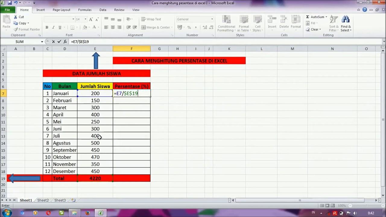 Cara Mudah Menghitung Persen di Excel - YouTube