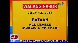UB: Walang pasok ngayon sa public at private schools sa Bataan, all levels