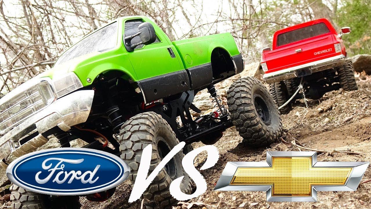 TUG of WAR - Ford VS Chevy 4x4 RC Trucks