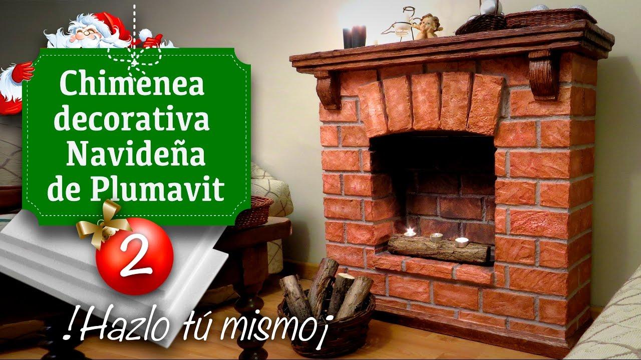 Decoracin de Navidad Chimenea Falsa de Plumavit Manualidades