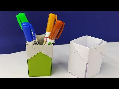 How to make paper pen holder very easy | diy pen holder making tutorial | pencil holder crafts ideas