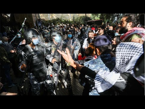 Students Clash With Police Outside The American University of Beirut