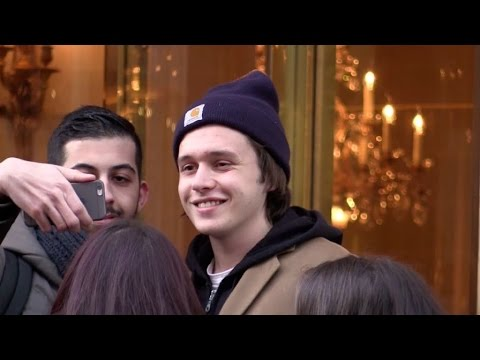 EXCLUSIVE:  Young actor Nick Robinson with fans in Paris