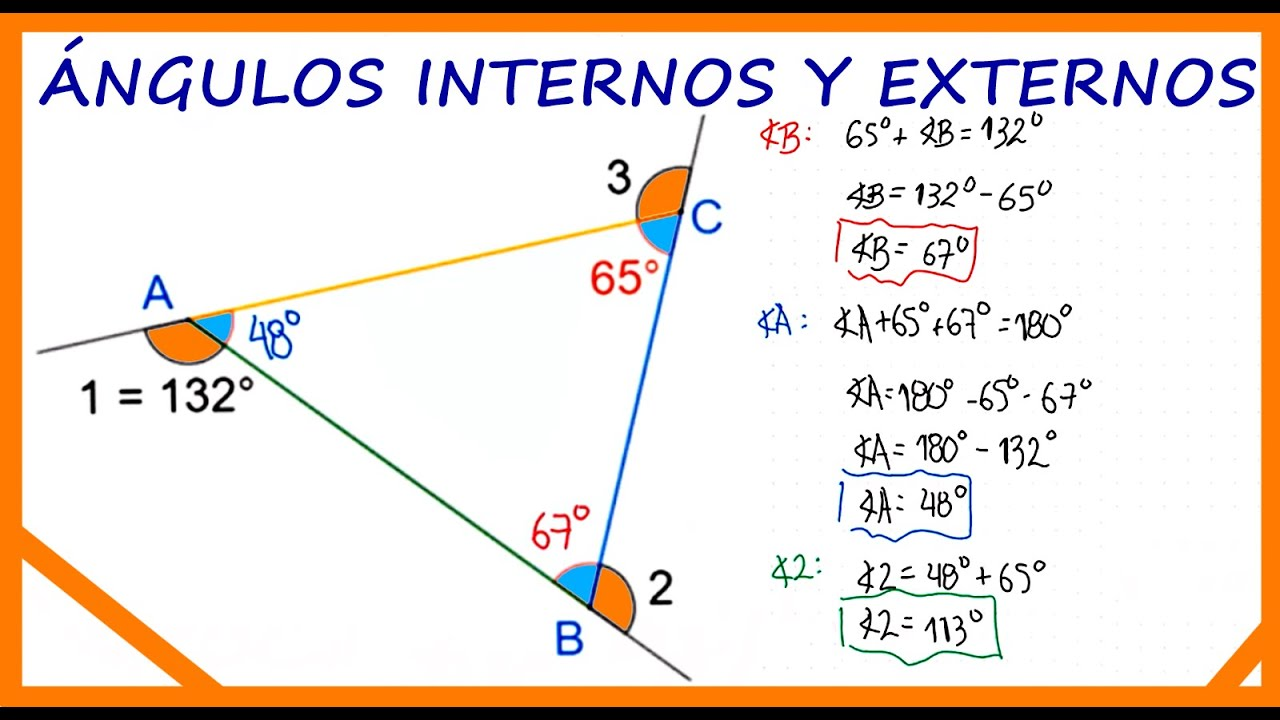 Como Hallar Los ángulos Internos Y Externos De Un Triángulo Youtube