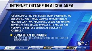Damaged fiber-optic cable line…