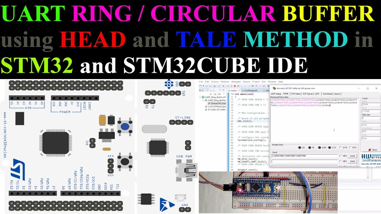 UART Ring Buffer using Head and Tale in STM32 || STM32 CubeIDE ||