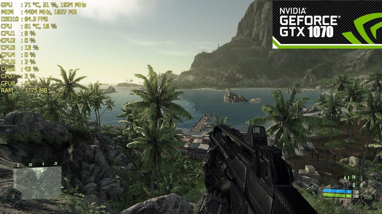 Crysis 1 Gtx 1070 Oc Framerate Ultra Settings 1080p
