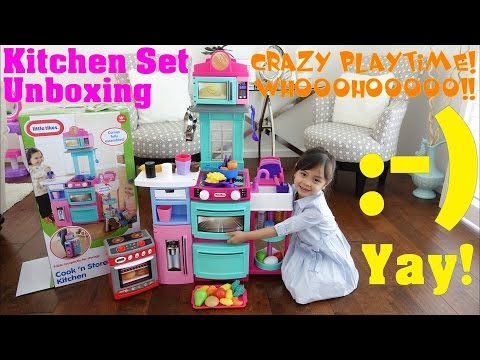 Kitchen Playset Unboxing & Playtime. Food Playset Fun! Little Tikes Cook and Store Kitchen