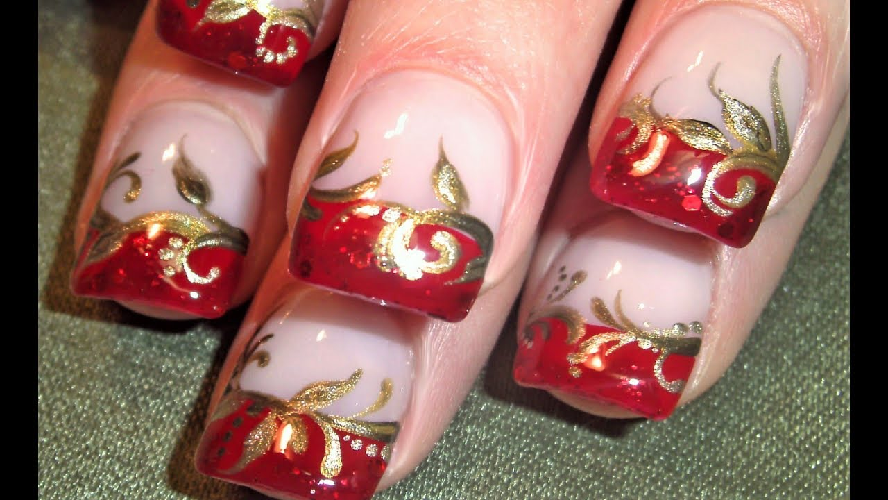 Pretty Red and Gold Nails Design | Elegant Wedding Tip Nail Art ...