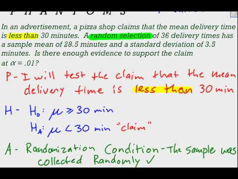 Hypothesis Test for Large Sample Means - One Tail Example - YouTube