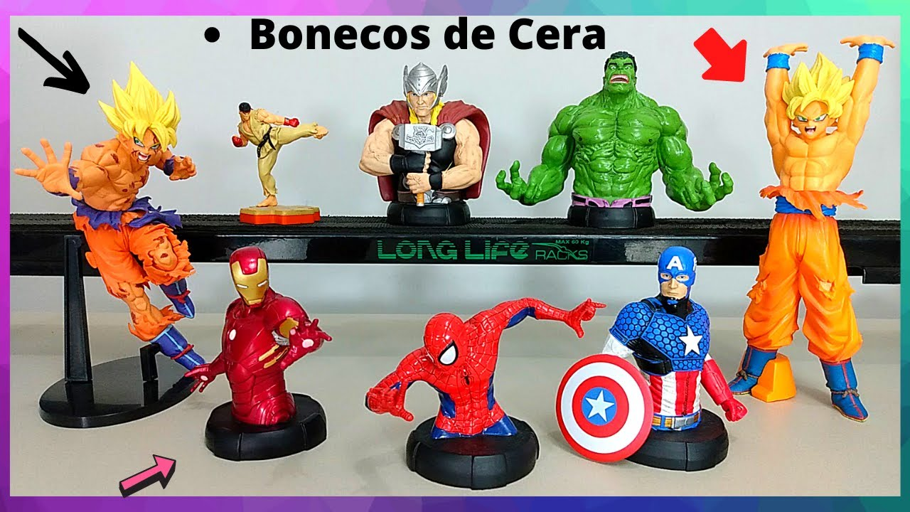 Bonecos Vingadores,Dragon Ball Z,Street Fighter - Ryu,Hulk,Goku,Thor,Homem Aranha,Iron-man