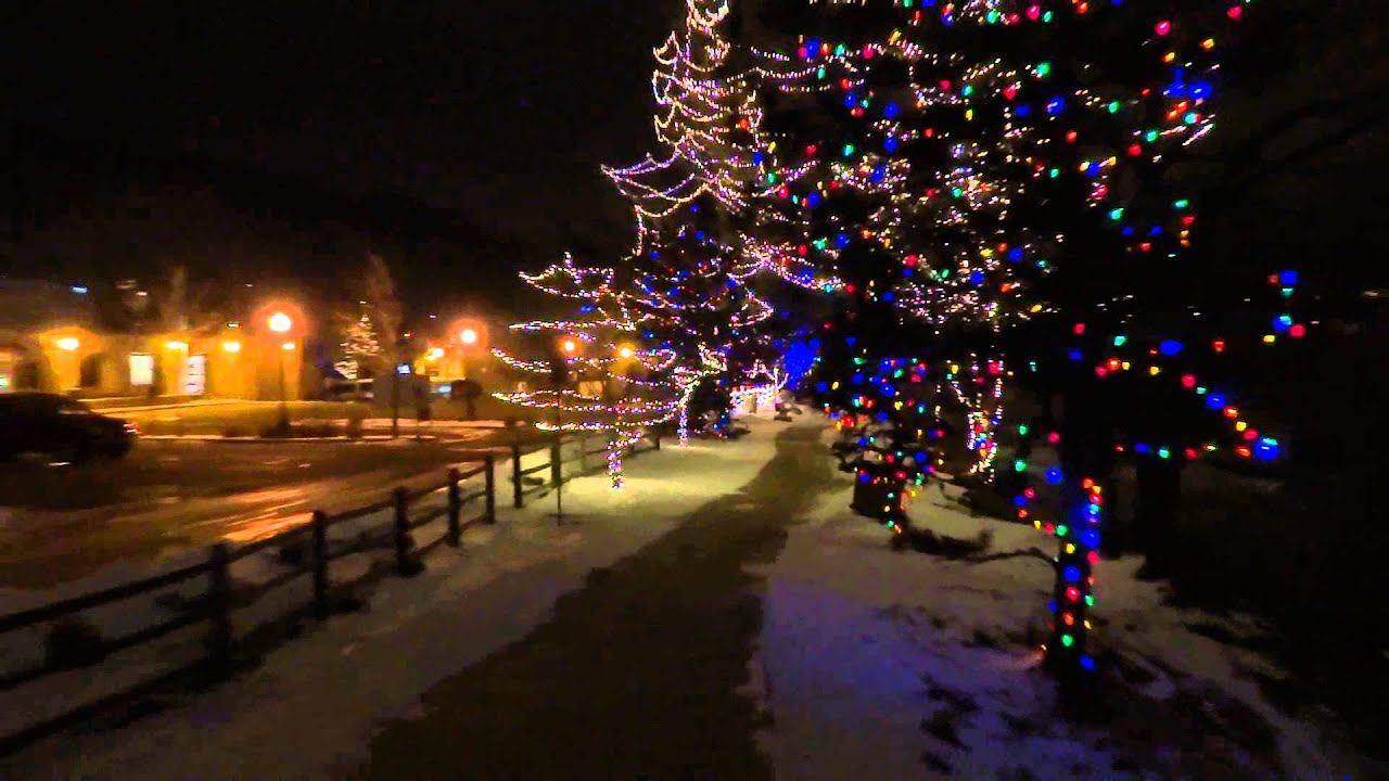 christmas lights on clear creek in golden colorado