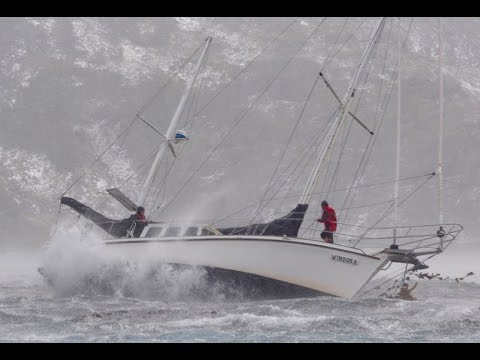 Sailboat Windora Pounding on the Southern Ocean Rock