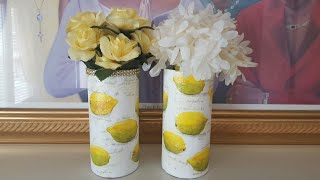 MOD PODGE NAPKINS | DOLLAR TREE VASE | DIY CENTERPIECE