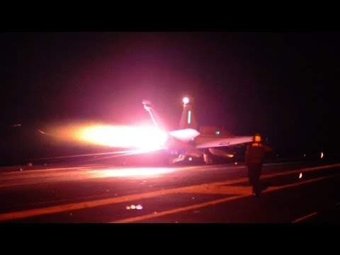 Aircraft Carrier USS Carl Vinson Night Flight Operations