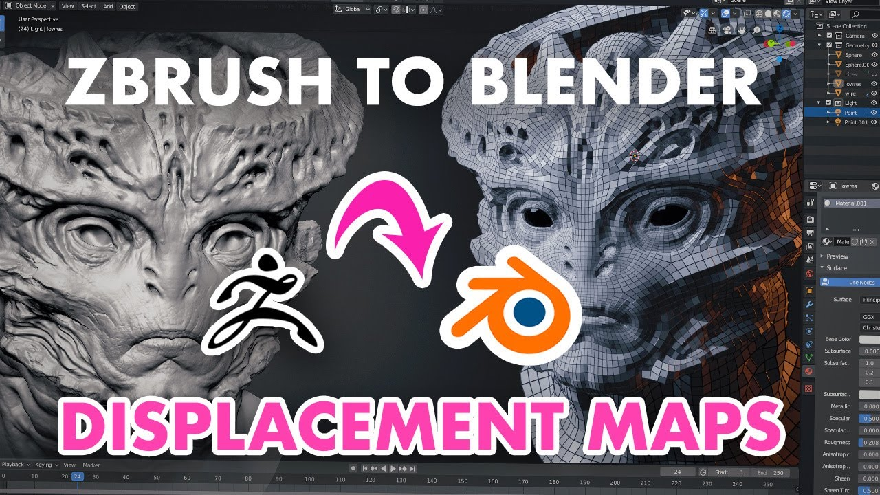 ZBrush to Blender 2.8 Displacement Maps - Ultimate Guide