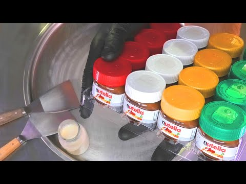 Nutella Colors Ice Cream Rolls   Colorful Nutella Chocolate Cream - most satisfying Food ASMR Video