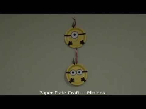 DIY Paper Plate Craft -- Minions#2  (纸盘手工 之小黄人 2)