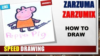 SPEED DRAWING HOW TO DRAW PEPPA PIG STEP BY STEP