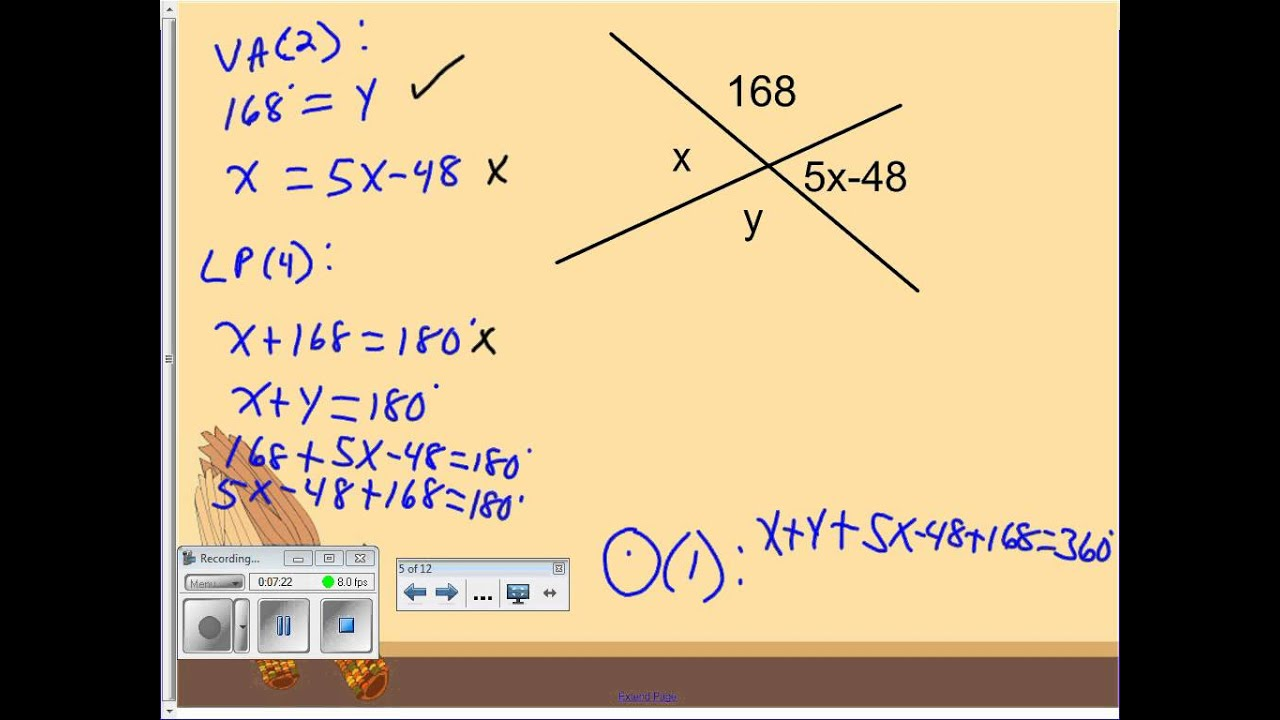 Solving Equations With Vertical Angles