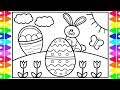 How to Draw the Easter Bunny Step by Step for Kids 🐰🌈🌷Easter Drawings  | Easter Coloring Pages