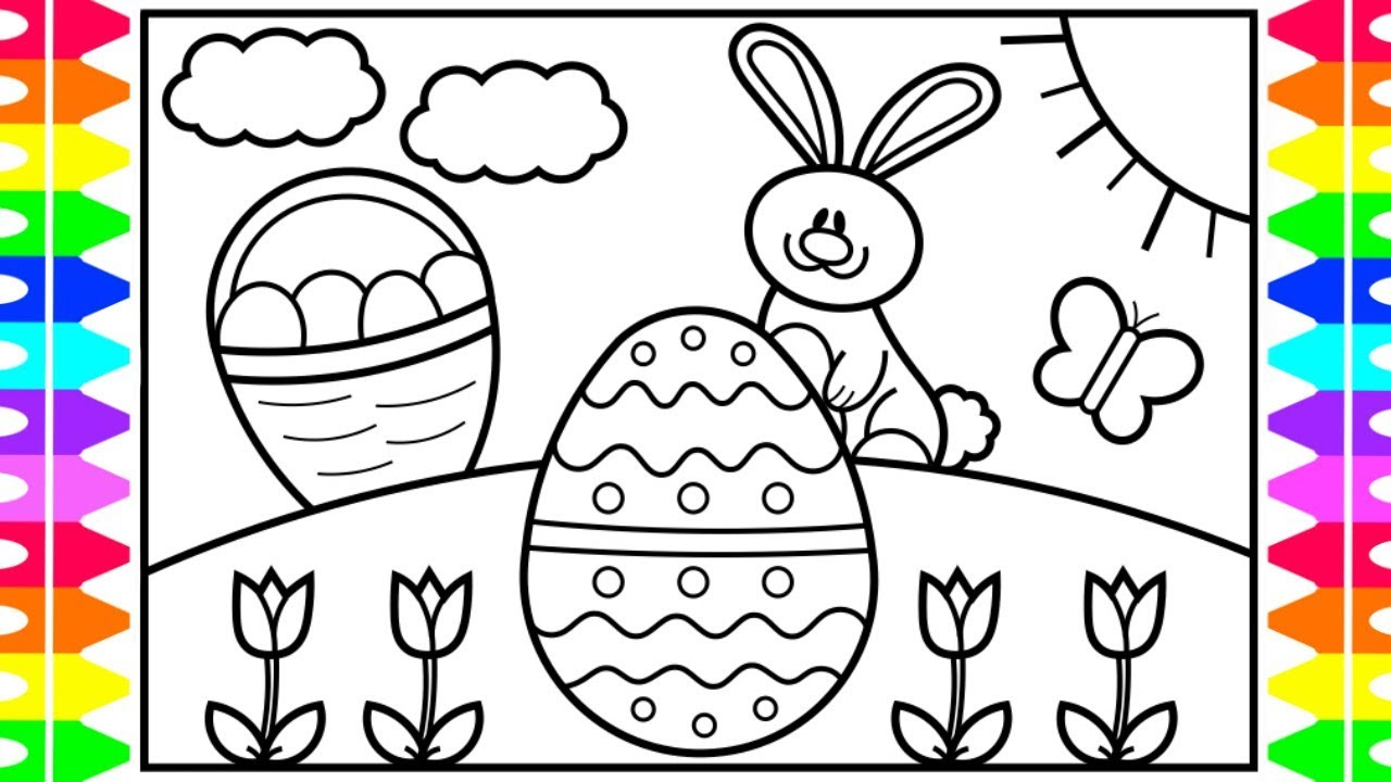 How to draw the easter bunny step by step for kids 🐰🌈🌷easter drawings easter coloring pages