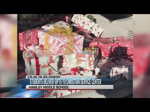 Hawley Middle School art students deliver gifts to Christian Services Center