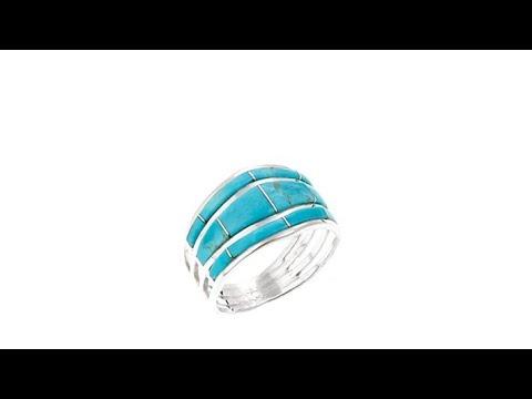 Chaco Canyon Zuni Kingman Turquoise Inlay Band Ring