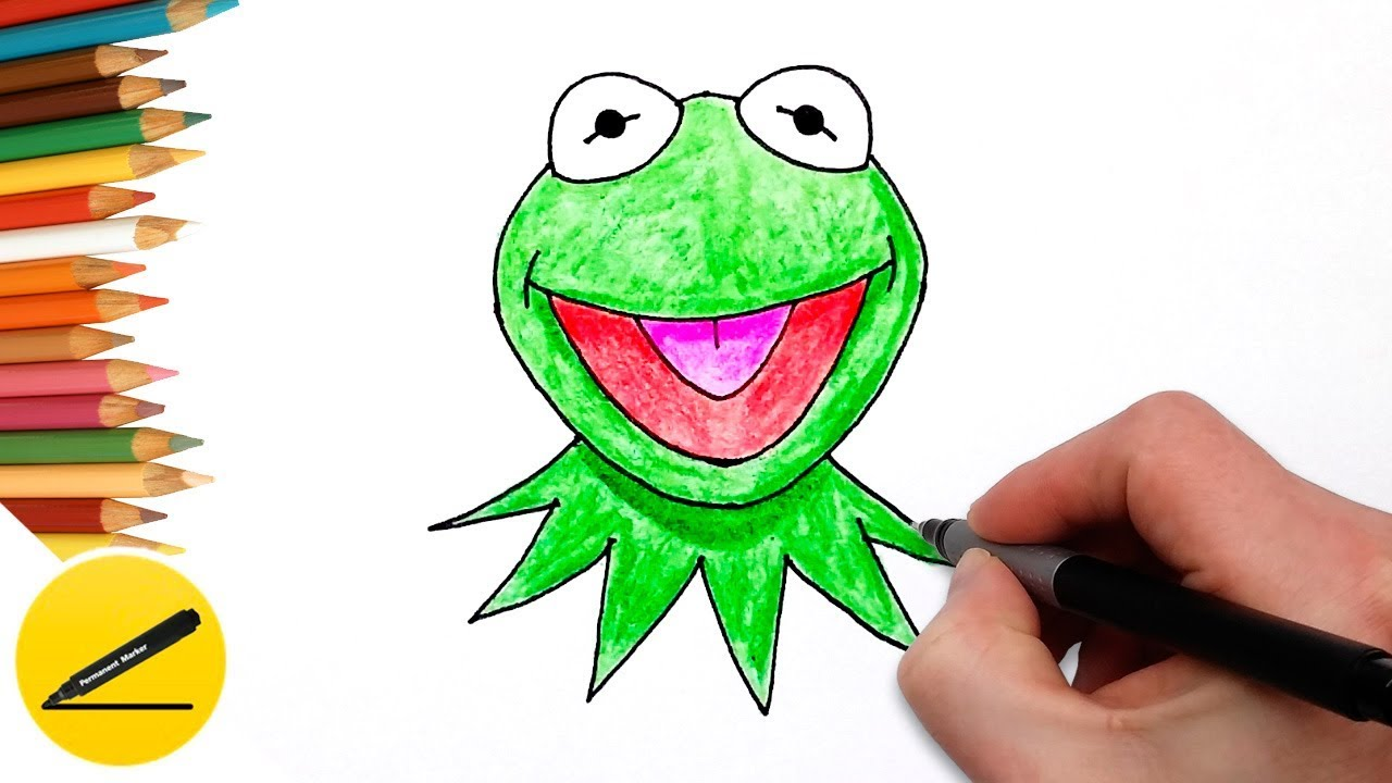 learning how to draw kermit the frog easy and coloring with