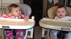 9 Month old baby twin girls singing christmas carols with mom