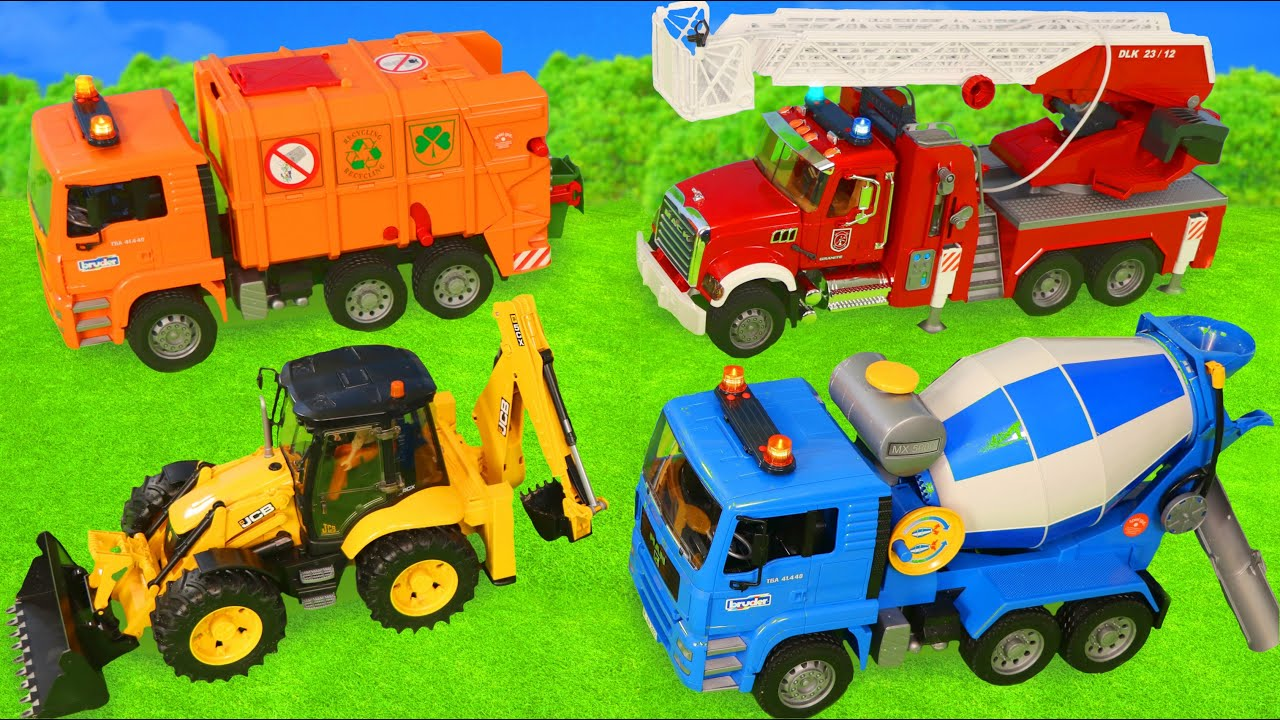 Download Fire Truck, Tractor, Excavator, Garbage Trucks & Police Cars Construction Toy Vehicles for Kids