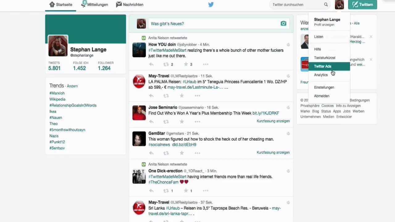 Profil einrichten in SocialShots Facebook und Twitter