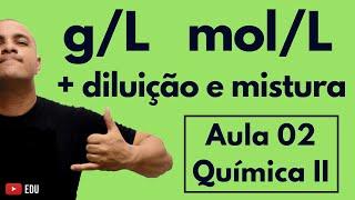 Concentração Comum (em g/L), (Molar) mol/L; Diluição; Mistura de Soluções   Aula 02 (Química II)