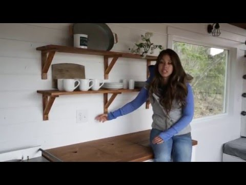 How to Make Wood Open Kitchen Shelves: Ana White Tiny House ...