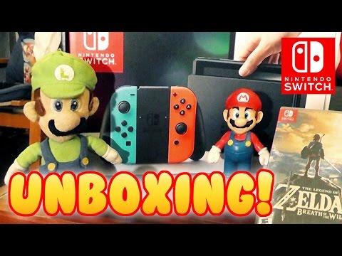 Nintendo switch unboxing with mario and luigi youtube for Housse nintendo switch mario