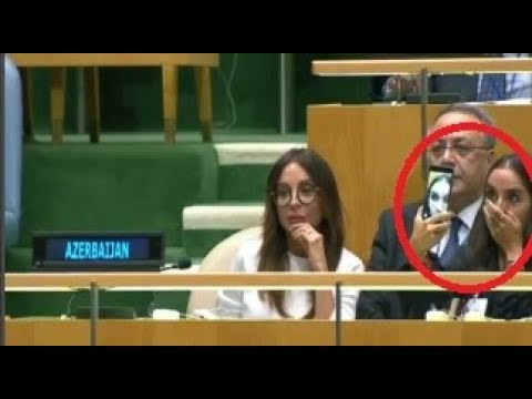 Azerbaijan leader Ilham Aliyev daughter takes selfies during father's UN speech