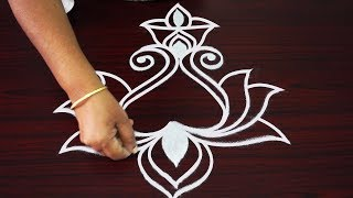 Deepam rangoli designs for friday - freehand lotus rangoli - muggulu designs for diwali