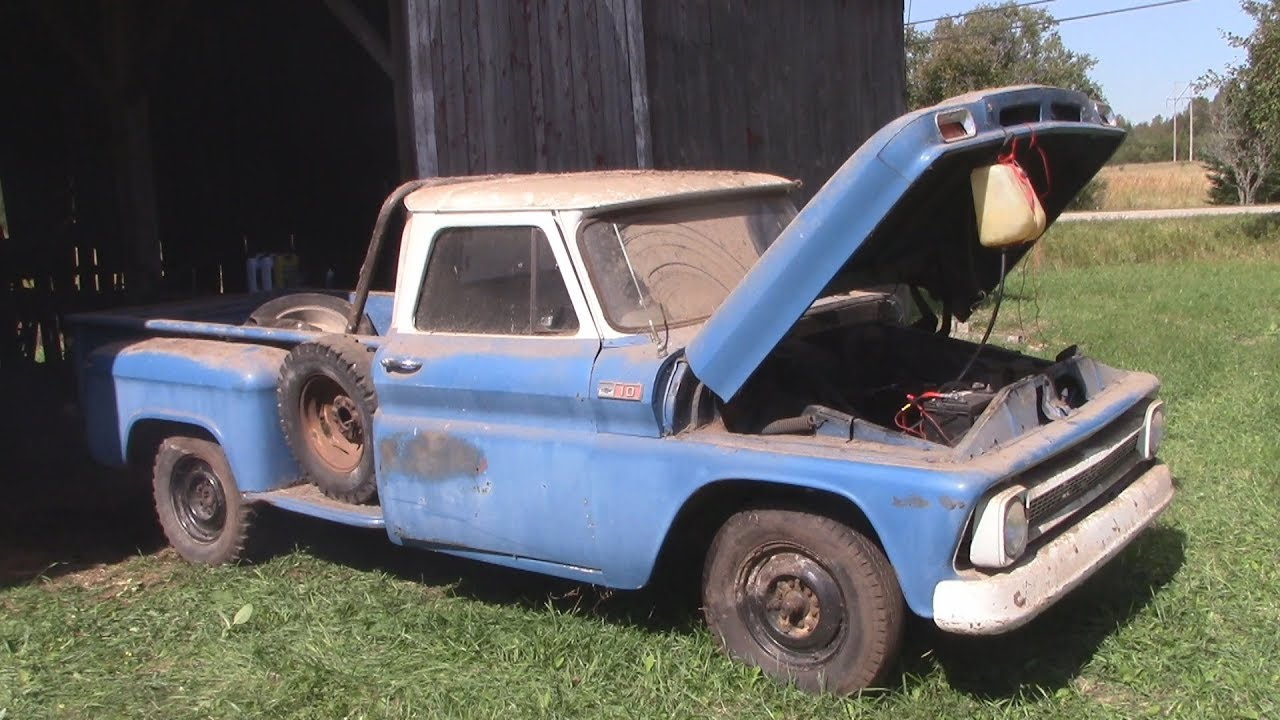 Barn Find 1965 Chevy Truck Cold Start - YouTube