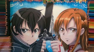 Drawing Kirito and Asuna - SWORD ART ONLINE speed drawing
