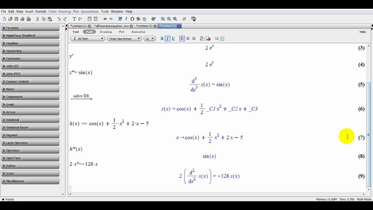 Maple 15 Differential Equation YouTube