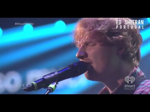 Ed Sheeran performing at the 2014 iHeartRadio Music Festival