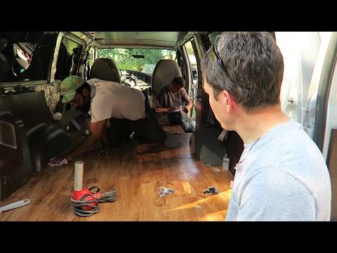 22. Touring Camper Van Build- Floor Installed! Creating Window Inserts