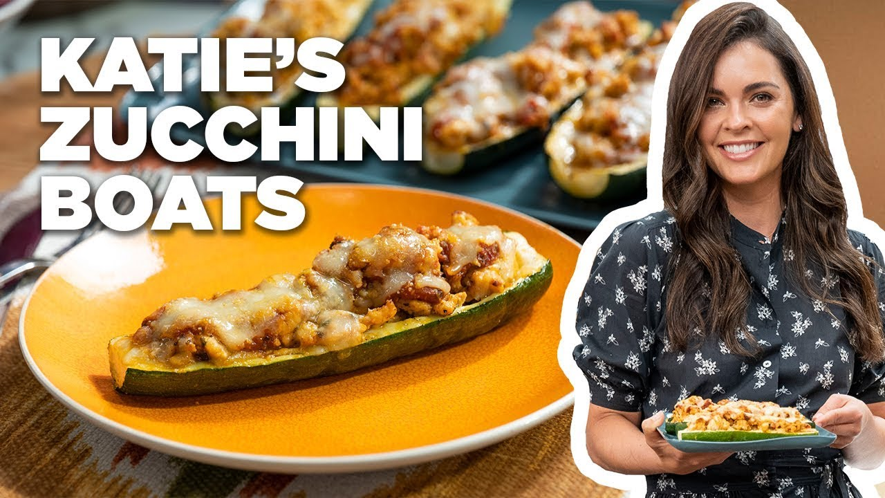 Chicken Parmesan Stuffed Zucchini Boats With Katie Lee Food Network Youtube