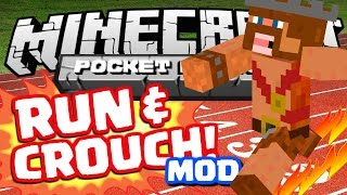Minecraft Mods | HOW TO SPRINT / CROUCH IN PE MOD! | Minecraft Mod Review & Parkour! (0.10.4)